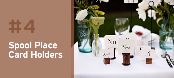 Wedding Upcycles - Upcycle those old wooden thread spools with a little wood stain to make classy place card holders.