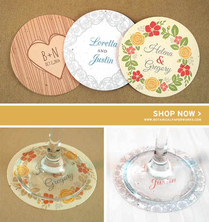 New Personalized Seed Paper Wedding Coasters from Botanical PaperWorks