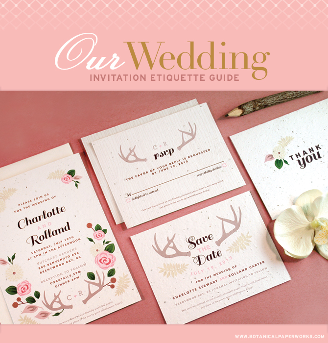 Our Wedding Invitations Etiquette Guide provides tips for stationery planning. By Botanical PaperWorks