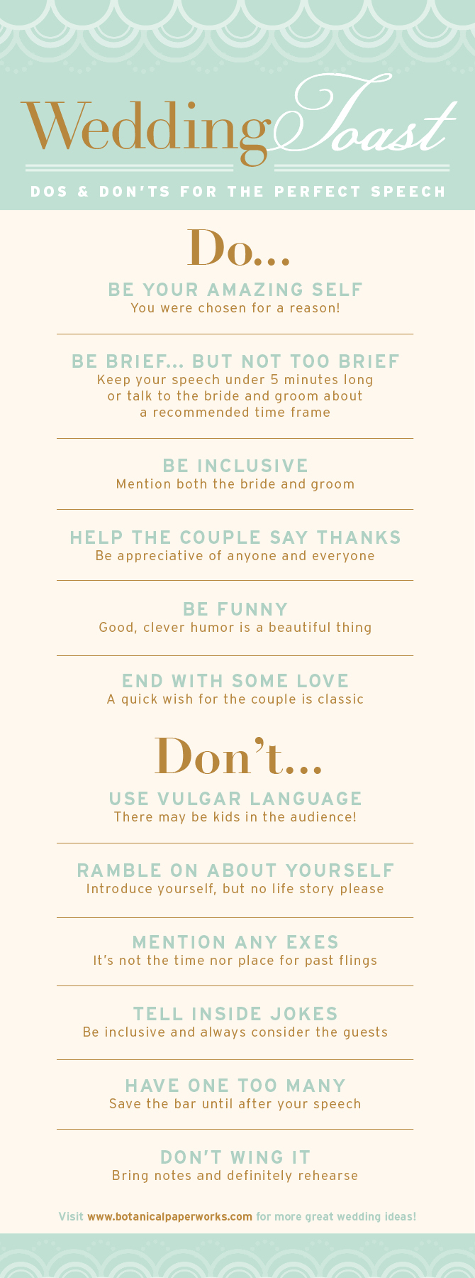 {free printable} Wedding Toast Do's and Don'ts - Ensure your wedding guests remember your speeches for the right reasons.