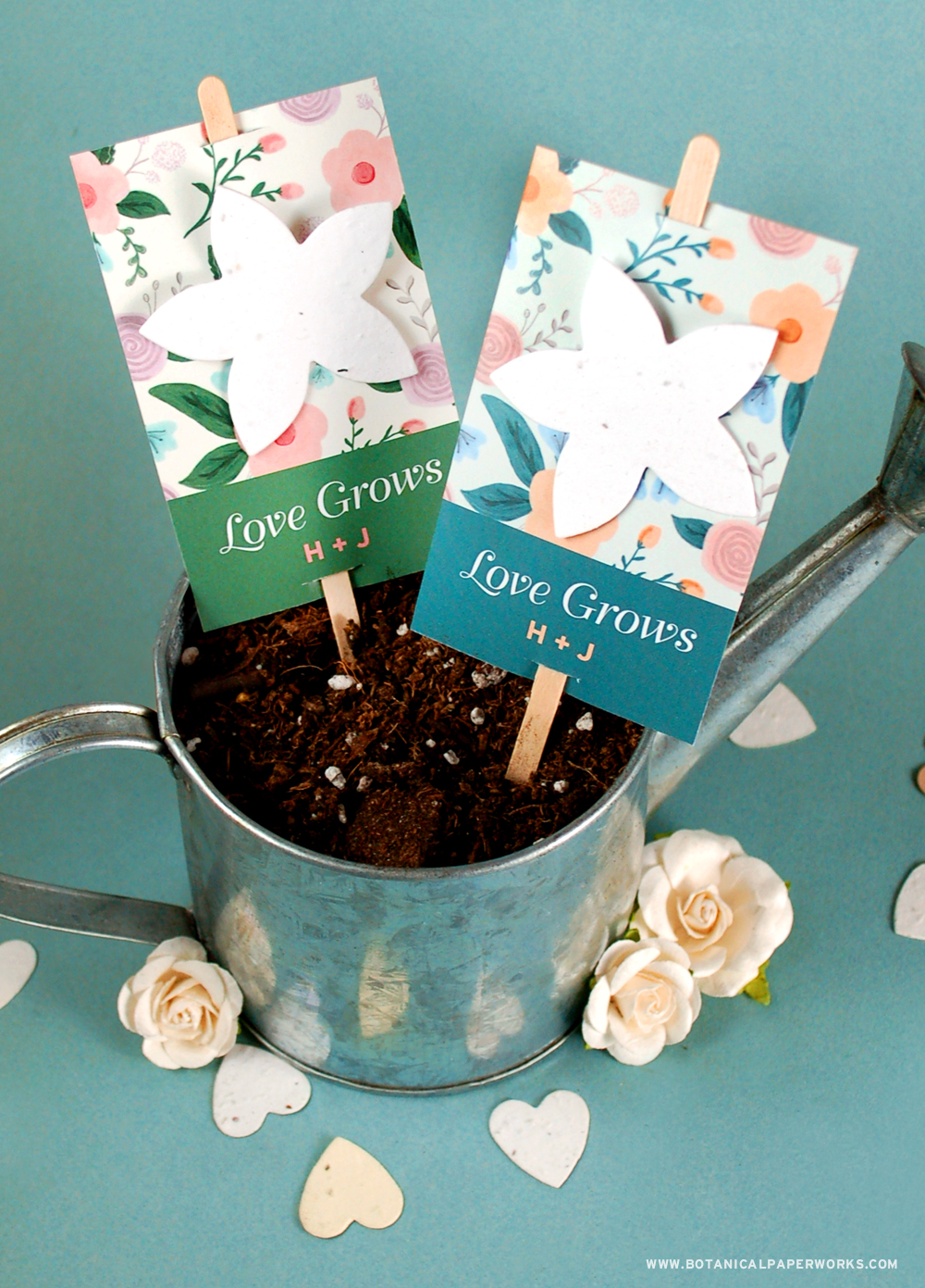 Romantic, floral and perfect for gardening season, these Wildflower Planting Stick Wedding Favors will add to your decor and give guests a blooming gift to say thank you.