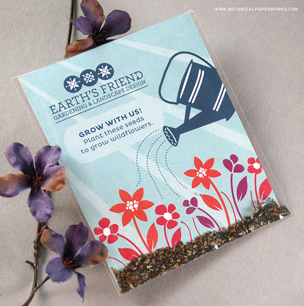 Your clients and colleagues will love receiving these NEW eco-friendly Wildflower Seed Packet Promotions.