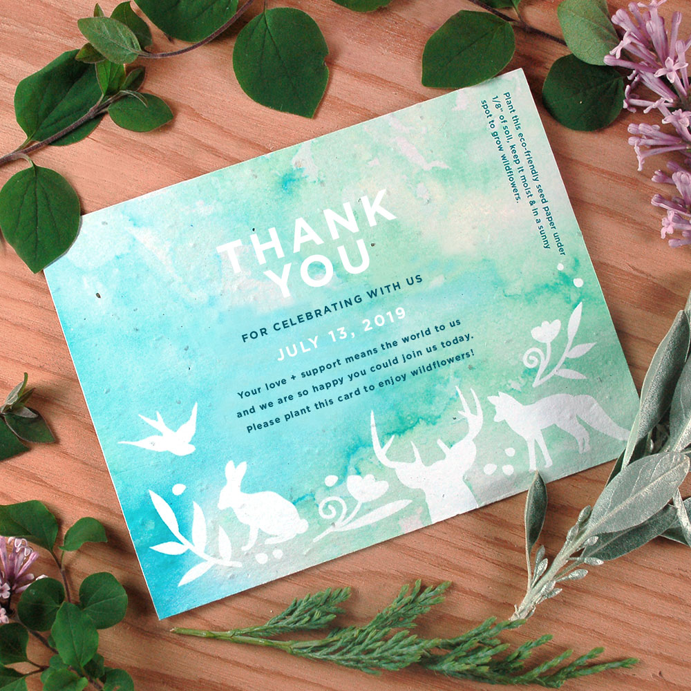These pretty Plantable Pary Favor Cards are perfect for a party with a woodland animal theme. They can be customized however you like and can be planted after to grow wildflowers!