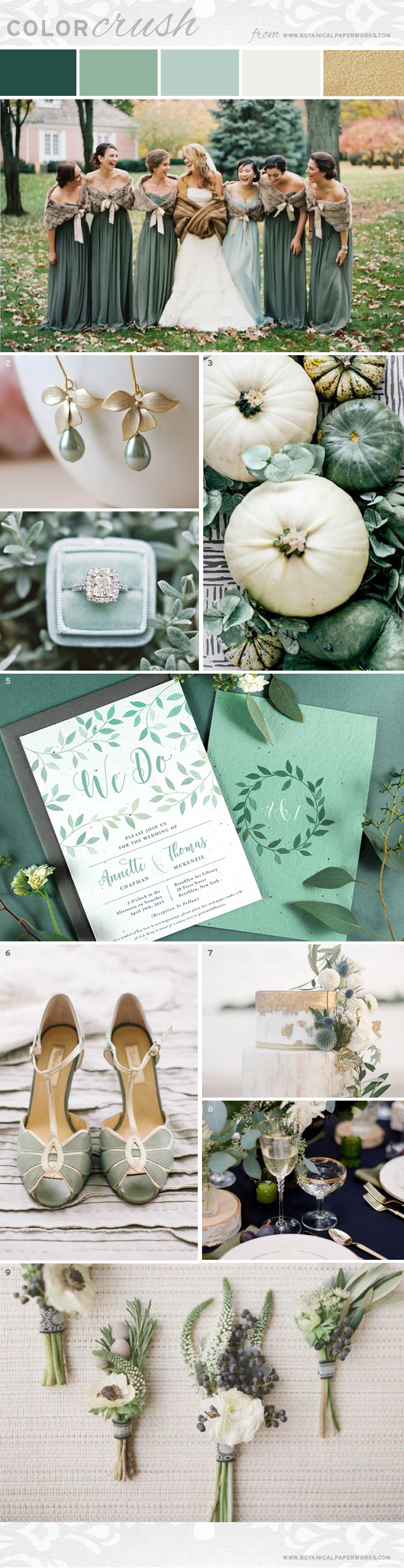 This wedding inspiration features wintery sage tones paired with warm ivory, rustic textures, cool greenery, and gold accents.