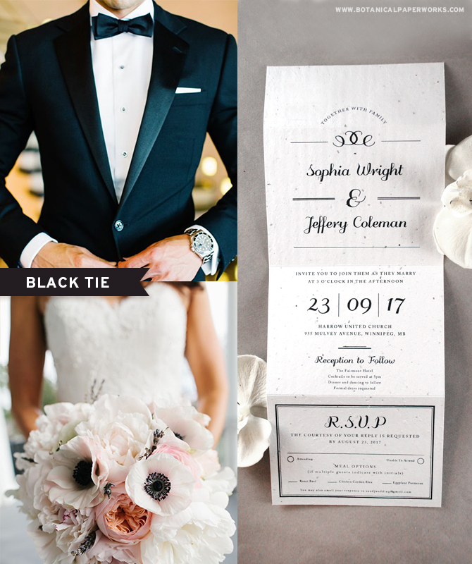 If you've always dreamed of planning an extravagant black tie affair, a #winterwedding is the perfect opportunity! Because black and white never go out of style, we love the look of this classic and simply designed Formal Text Seal and Send #WeddingInvitations.