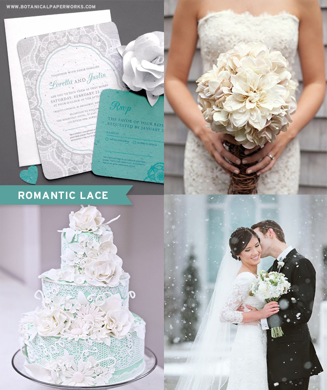 We love the look of white lace paired with a crisp mint shade and felt inspired by our own Romantic Lace #SeedPaper #WeddingInvitations. Elegant and sophisticated, these plantable #wedding invitations are the perfect pieces for all kinds of #winterweddings.