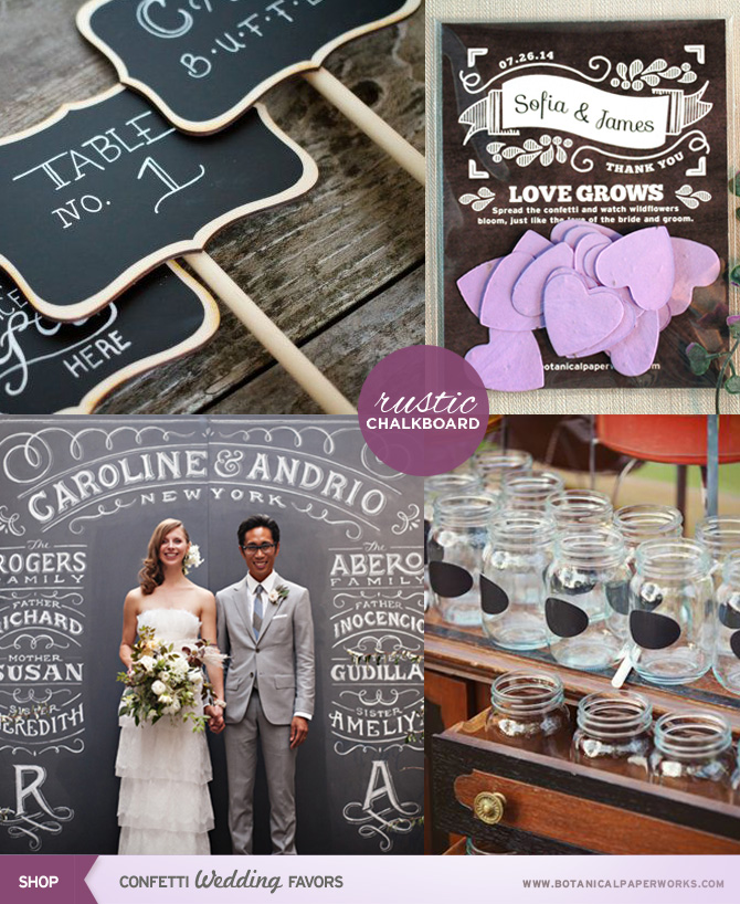 A Rustic Chalkboard Trend has taken off as of recent and we are thrilled, look at all the great ways to incorporate it in your big day!