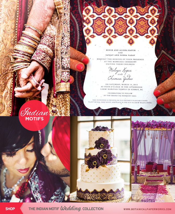 The intricate patterns and bright lavish colors are magnificent in this Indian Motif Wedding Collection.