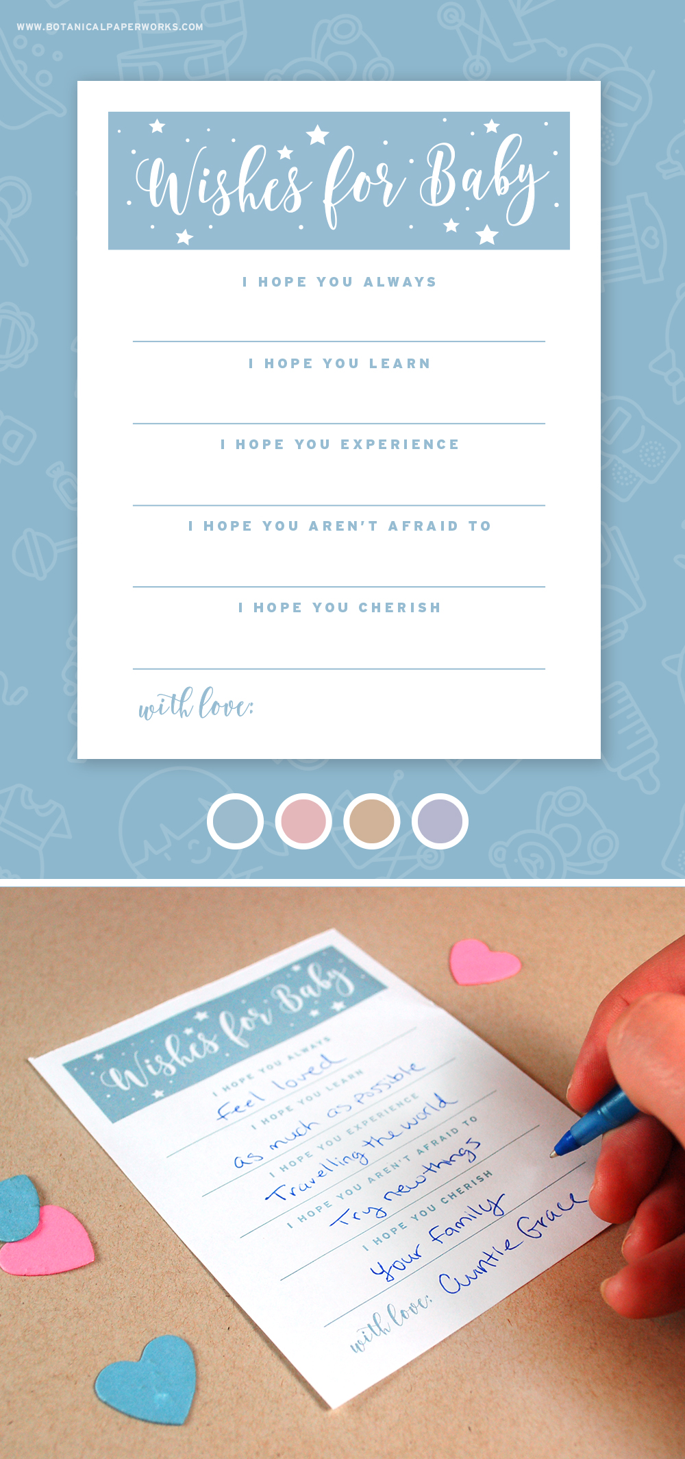 Download and print these adorable Wishes for Baby Free Printables for baby showers.