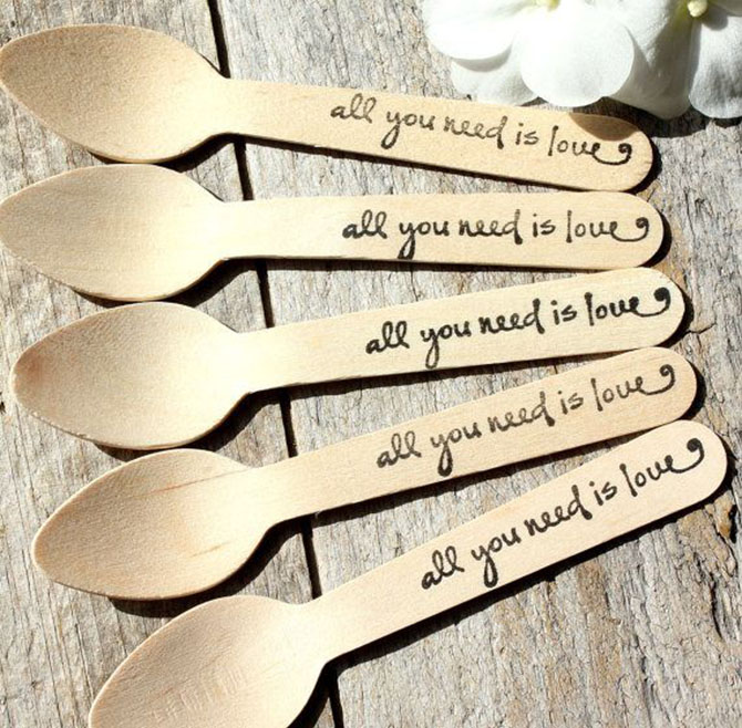 Forgo the traditional utensils and use Wooden Spoons for Eco-Friendly Weddings.