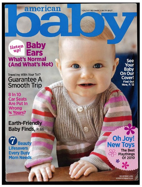 American Baby magazine cover, featuring plantable seed birth announcements