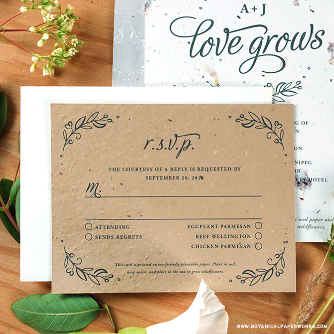 Spread Seeds of Love with this beautiful, eco-friendly plantable wedding invitations collection.