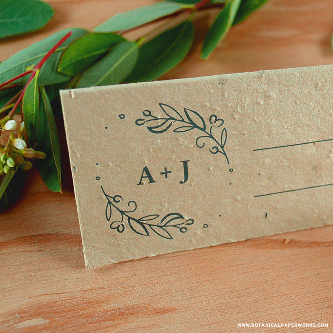 Help guests find their seat and give them a plantable wedding favor at the same time with these elegant place cards - part of our new Seeds of Love Plantable Wedding Invitations Collection.