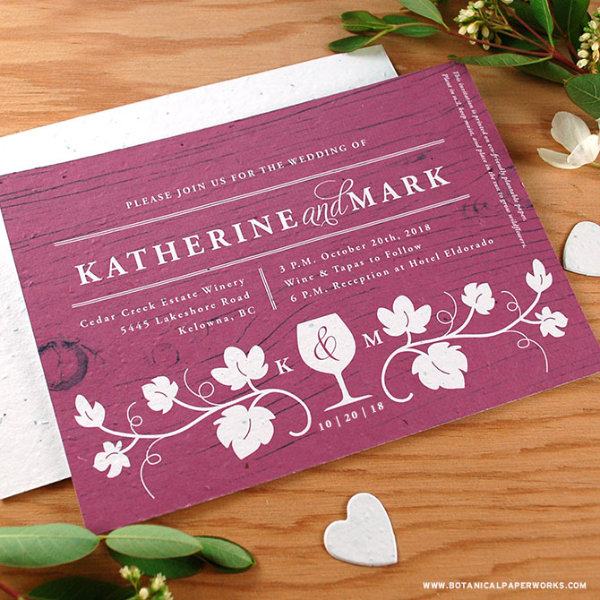 These seed paper wedding invitations are perfect for an elegant wedding at a winery.