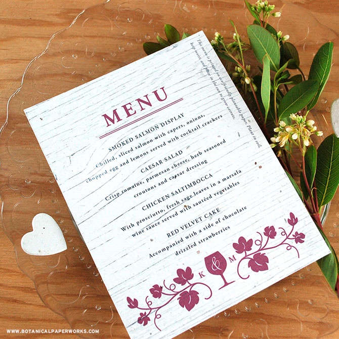 This seed paper wedding invitations collection is made for wine lovers or those planning a rustic winery wedding.