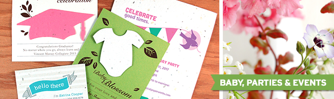 Browse through tons of seed paper cards and favors for eco parties, events & occasions.