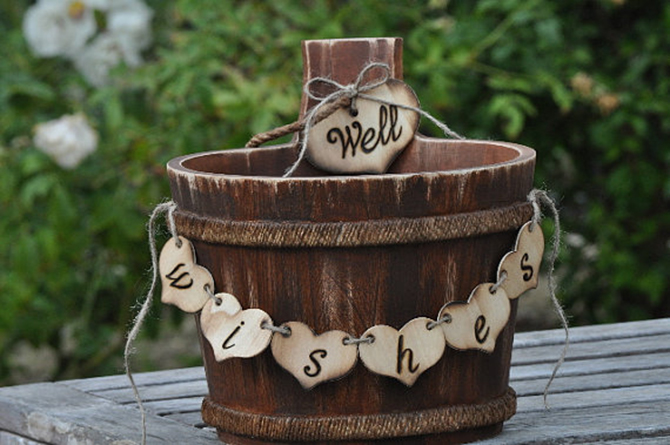 We love this adorable and rustic barrel - it would be perfect for our Well Wishes & Advice Favor Cards!