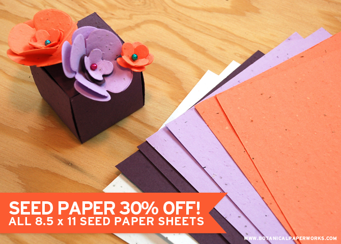 Botanical PaperWorks Seed Paper Sale - 8.5 x 11 Sheets 30% Off