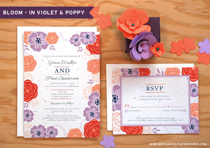 Botanical PaperWorks New Bloom Wedding Collection in Violet and Poppy
