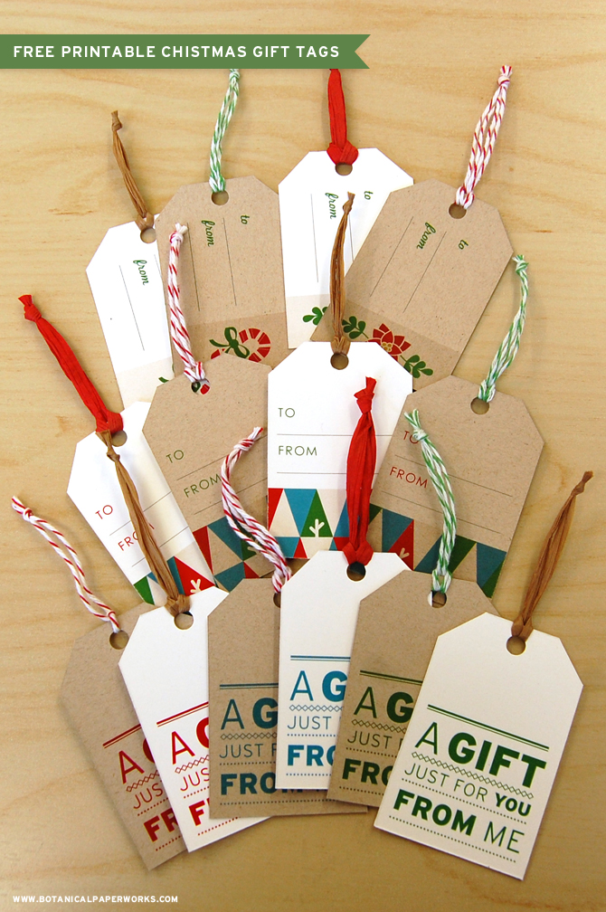 Botanical PaperWorks 12 Weeks of Christmas: Free Printable Christmas Gift Tags