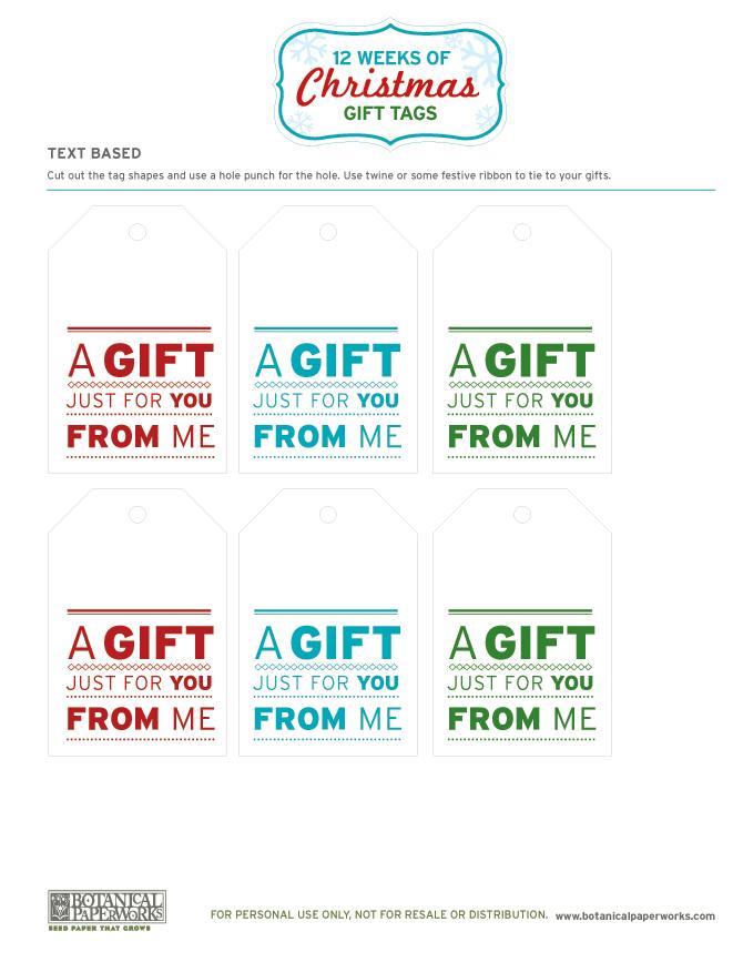 Botanical PaperWorks 12 Weeks of Christmas: Free Printable Christmas Gift Tags