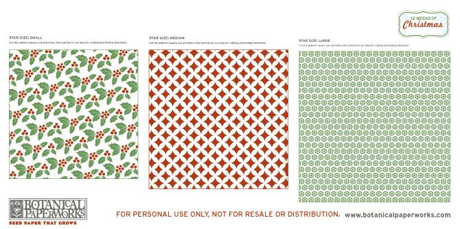 Botanical PaperWorks 12 Weeks of Christmas: Free Printable Hanging Stars Tutorial