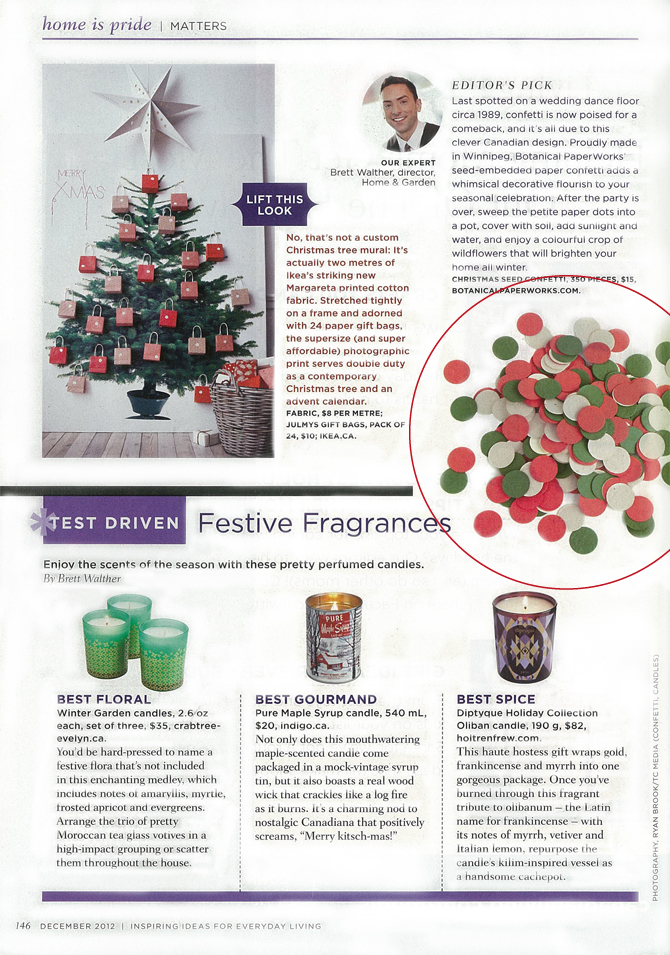 Botanical PaperWorks Christmas Eco Confetti Makes Editor's Pick in Canadian Living