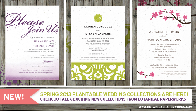 Botanical PaperWorks New Spring 2013 Plantable Wedding Collection