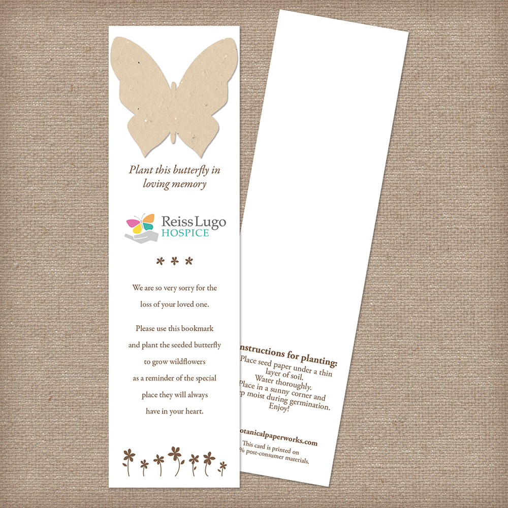 seed paper memorial butterfly bookmark