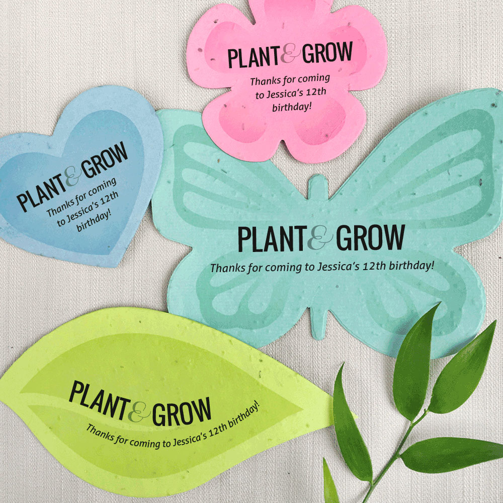 Pick your favorite shape and color with these Plantable Shape Party Favors and customize the text to make it just right for your next event.
