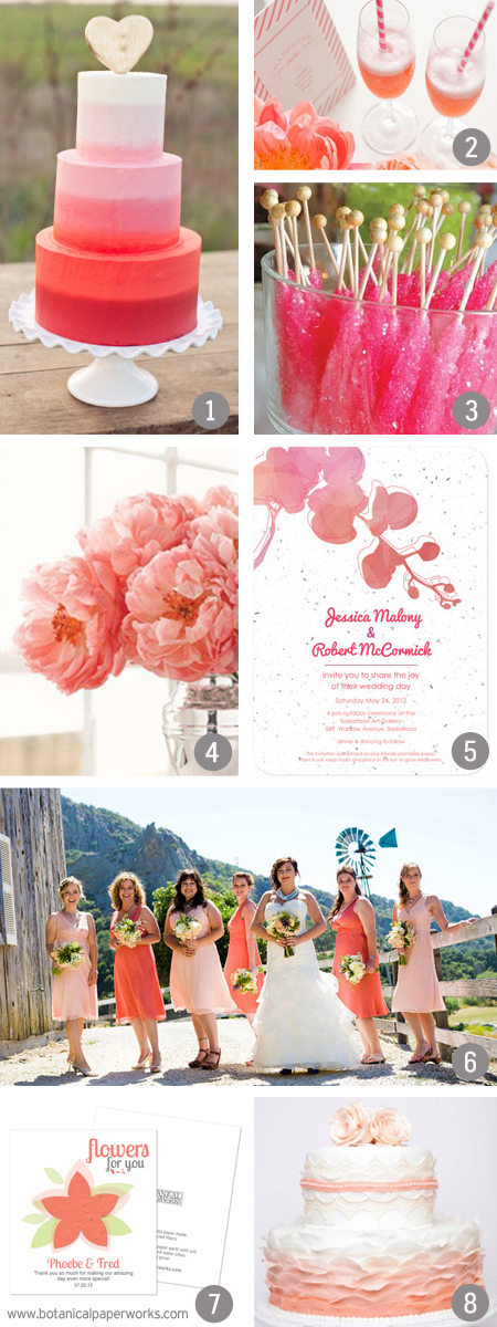 Pink and Coral Wedding Inspiration Board from the wedding experts at Botanical PaperWorks