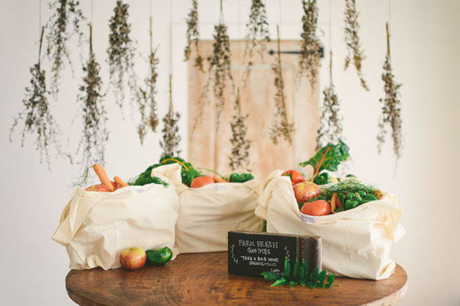 Give fresh veggies at a farm style eco-friendly wedding.