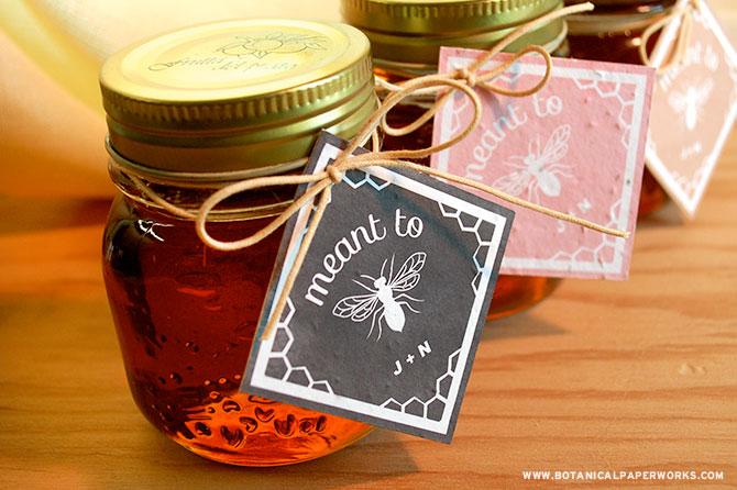 Locally farmed honey with seed paper tags are an adorable wedding favor for eco-friendly weddings.