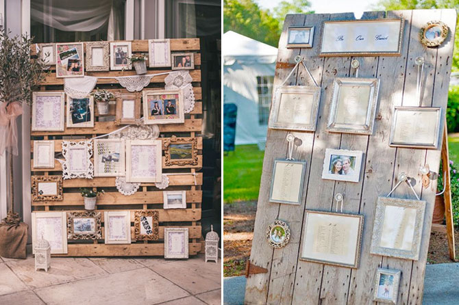 Vintage frames against an old wood pallet or door make a charming seating chart for rustic, eco-friendly weddings.