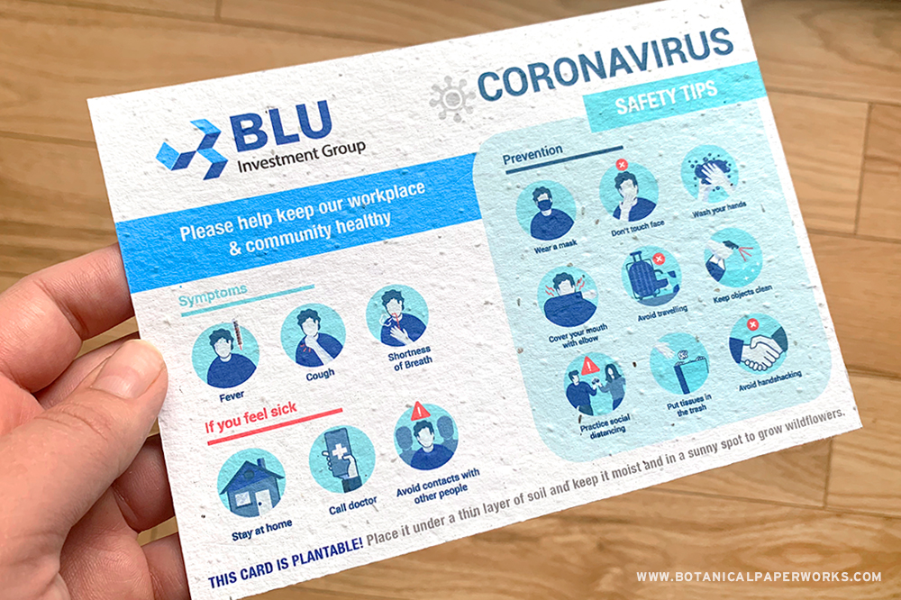 Coronavirus safety tips printed on eco-friendly seed paper that grows.