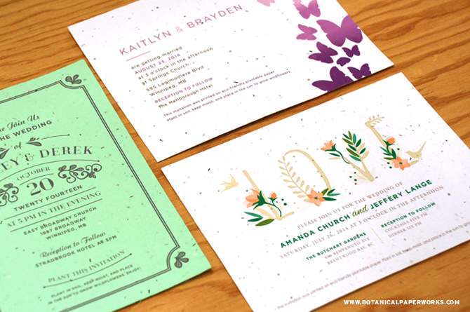 New Summer designs: wedding invitations that are stylish and eco-friendly. Plant them and grow flowers!