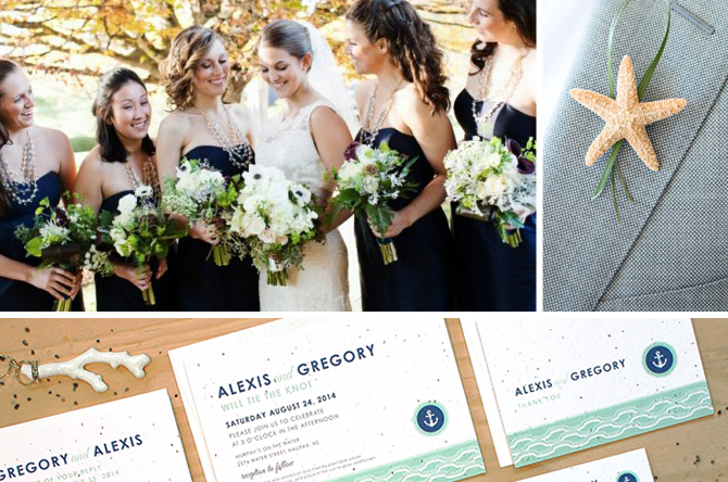 Nautical wedding inspiration board with tons of great ideas for planning a nautical-themed wedding.