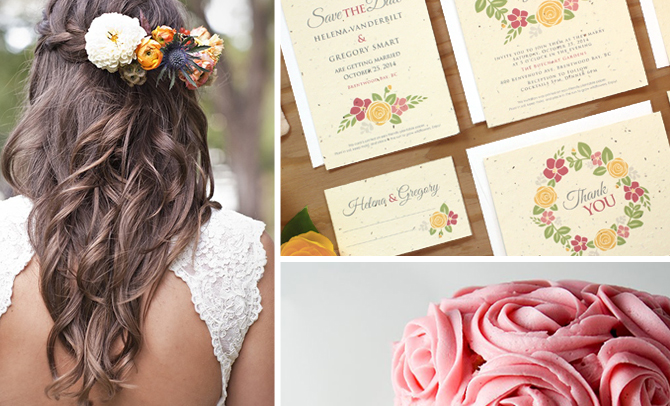 A beautiful wedding inspiration board with flowers, favors, decor and more ideas for planning a beautiful wedding.