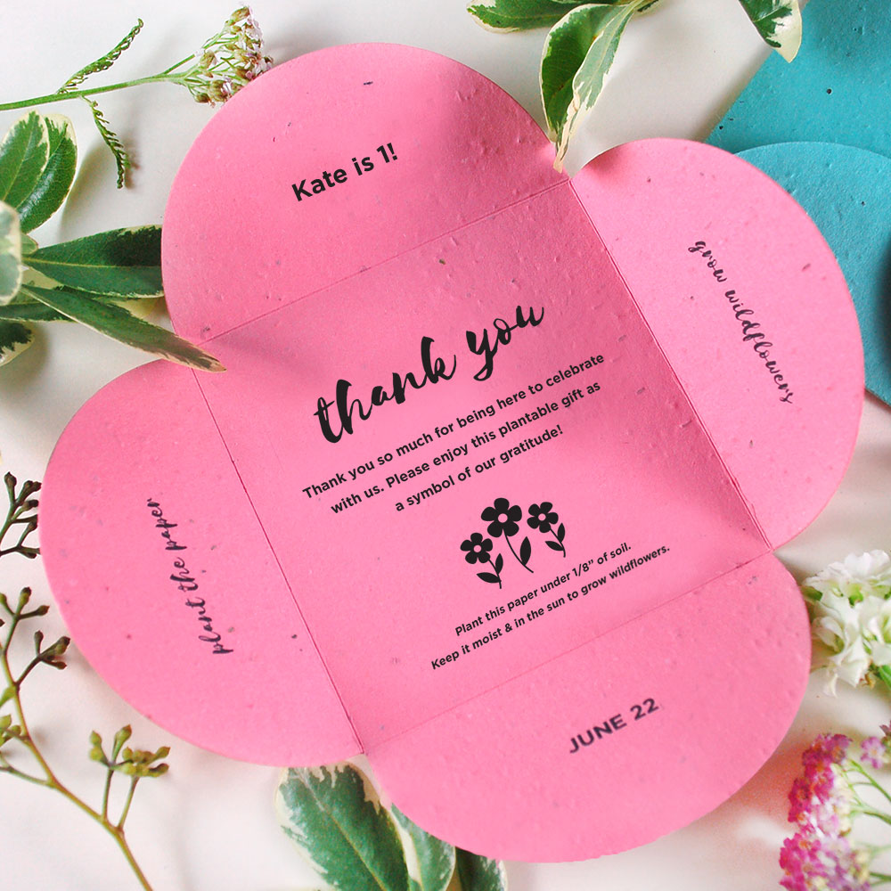 Share a blooming gift with your party guests with Plantable Petal Cards!