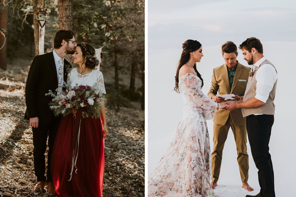elopement planning during coronavirus with a non-traditional wedding dress