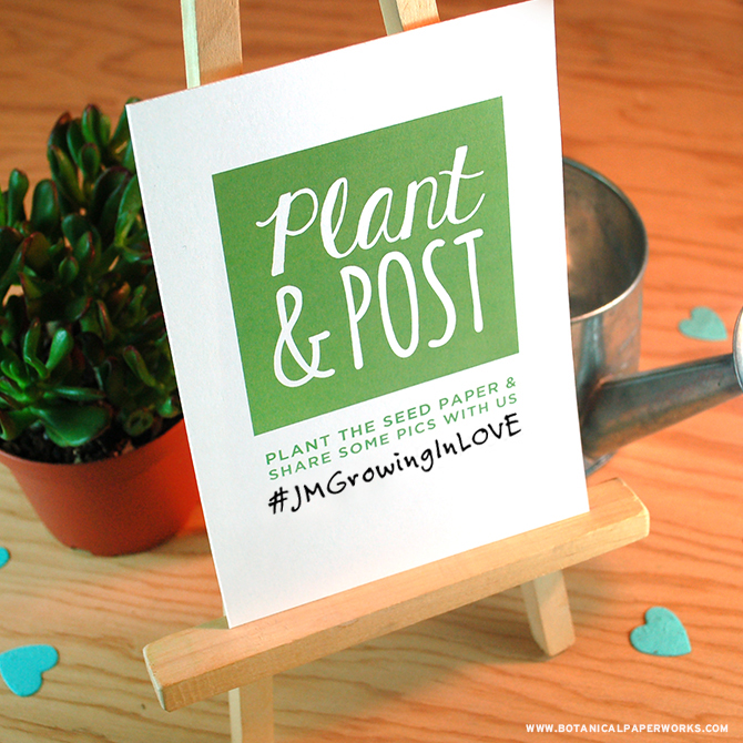Get the most from your beautiful and eco-friendly seed paper stationery by encouraging loved ones to post photos of the growth on social media using a unique hashtag. Learn more + get a free printable sign here! #stationery #wedding #freeprintables #seedpaperarn more + get a #freeprintable sign here!