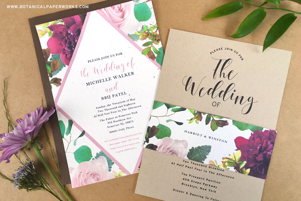 Choosing recycled wedding invitations are just one of the many ways to reduce waste when planning an eco-friendly wedding.