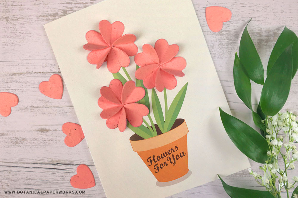 seed paper flower-shaped confetti card