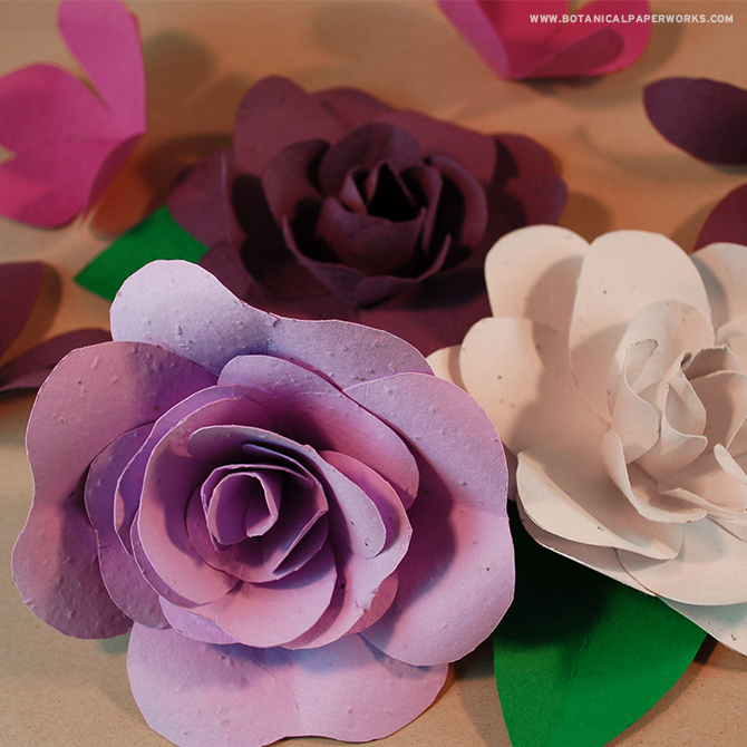 These seed paper flowers add a beautiful touch to any event decor and when you're done with them, you can plant the seed paper crafts to grow REAL wildflowers!