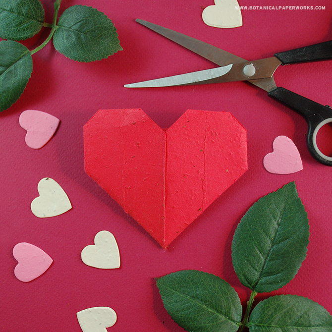 These origami hearts are fun seed paper crafts to make and even more fun to plant after.