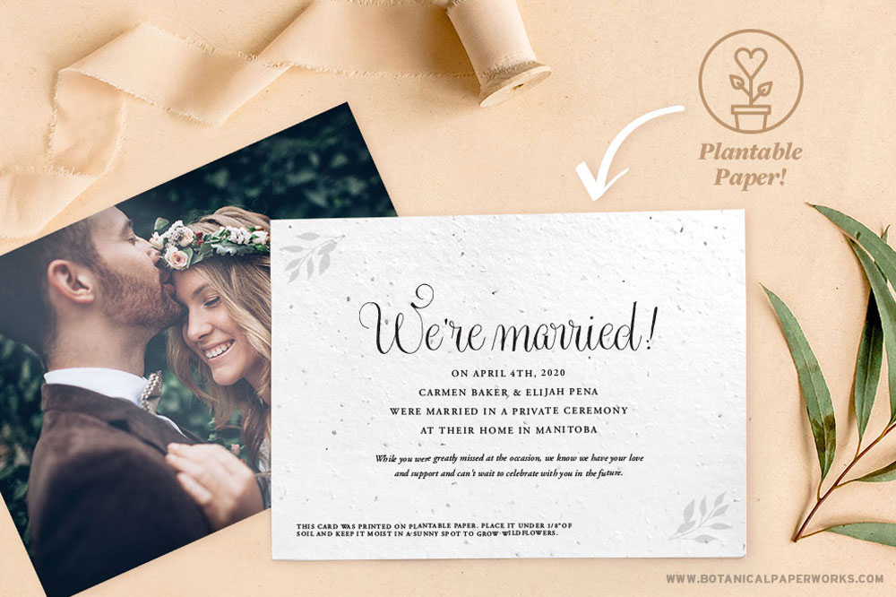 plantable elopement announcement cards