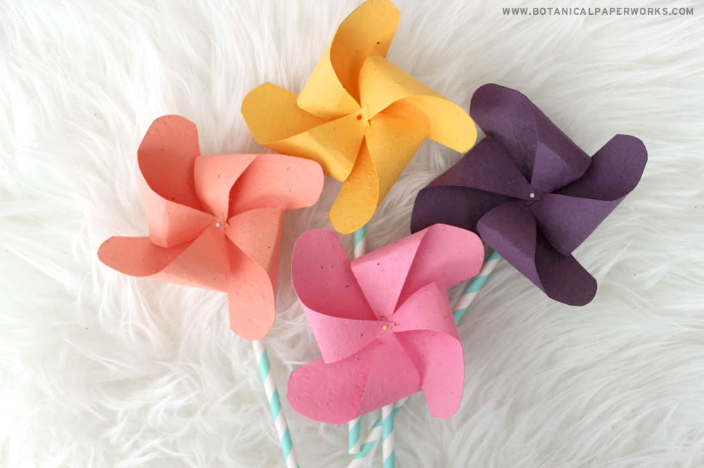 Make these colorful pinwheel paper crafts with plantable seed paper to capture the essence of spring.
