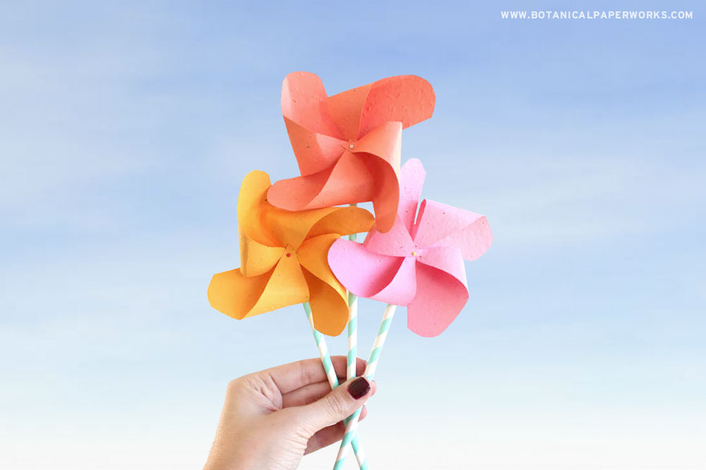 a hand holding seed paper pinwheels