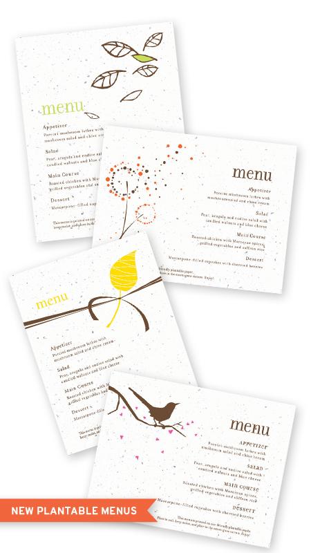 seed paper plantable menu cards