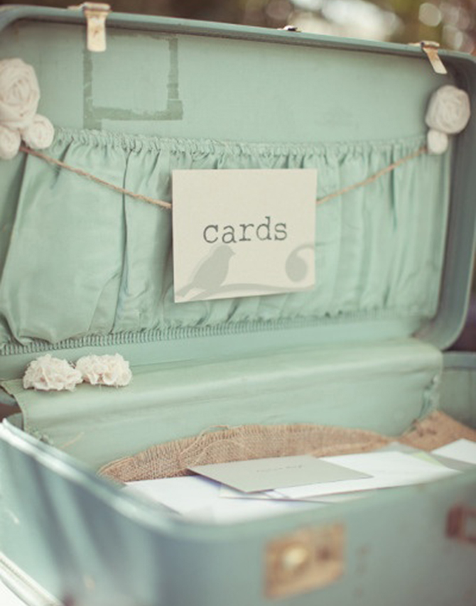 This mint-green suitcase would be perfect for not only cards, but for our Well Wishes & Advice Favors, too!